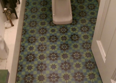 Original Victorian tiles in toilet